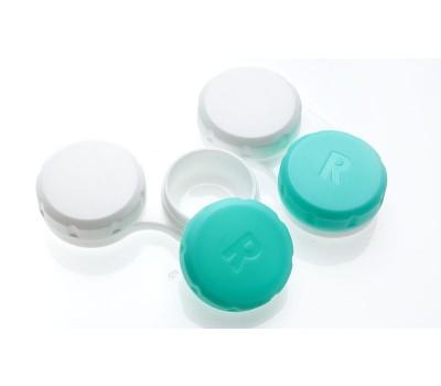 Pojemniczek na soczewki biało-zielony